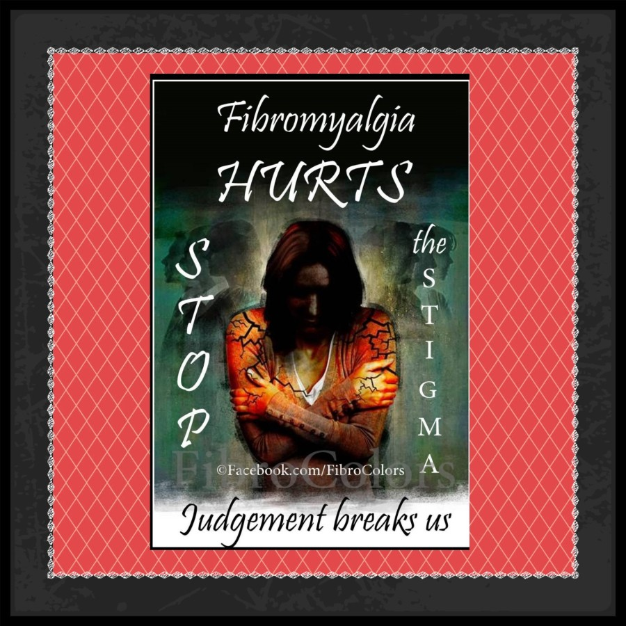 FIBRO HURTS AWARENESS POSTER STOP THE STIGMA - RED AND BLACK