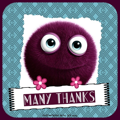MANY THANKS Purple fluff with banner and turquoise pattern JPEG.jpg